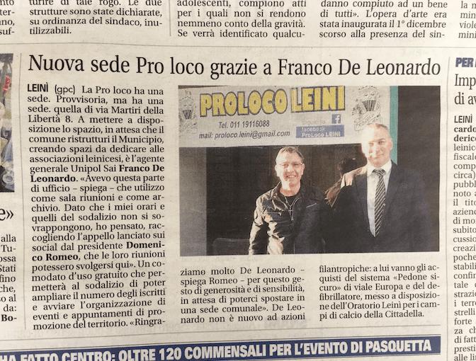 Franco De Leonardo Assicurazioni Unipolsai Leinì